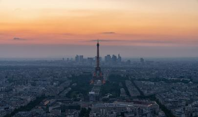 Skyline of Paris with Eiffel Tower at sunset in Paris, France. Eiffel Tower is one of the most iconic landmarks of Paris. Postcard of Paris- Stock Photo or Stock Video of rcfotostock | RC-Photo-Stock