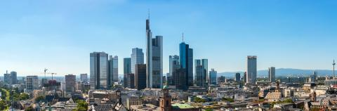 Skyline panorama at center business district in Frankfurt- Stock Photo or Stock Video of rcfotostock | RC-Photo-Stock