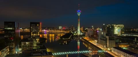 Skyline view of Dusseldorf at night blue hour- Stock Photo or Stock Video of rcfotostock | RC-Photo-Stock