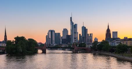 Skyline view of Frankfurt at sunset in germany- Stock Photo or Stock Video of rcfotostock | RC-Photo-Stock
