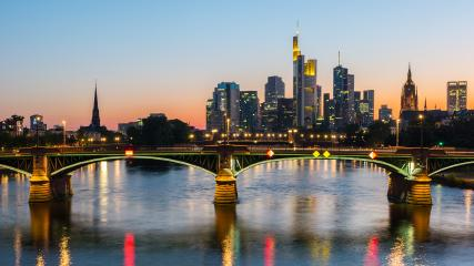 Skyline view of Frankfurt city at sunset, germany- Stock Photo or Stock Video of rcfotostock | RC-Photo-Stock