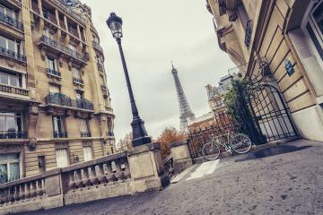 small paris street view of the Eiffel Tower in paris, france- Stock Photo or Stock Video of rcfotostock | RC-Photo-Stock