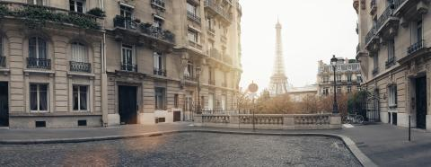 small paris street with view on the famous paris eiffel tower on a cloudy rainy day with some sunshine- Stock Photo or Stock Video of rcfotostock | RC-Photo-Stock