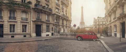 small street in paris with view on the famous eifel tower - panroama- Stock Photo or Stock Video of rcfotostock | RC-Photo-Stock