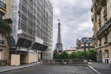 small street in paris with view on the famous eifel tower : Stock Photo or Stock Video Download rcfotostock photos, images and assets rcfotostock | RC-Photo-Stock.: