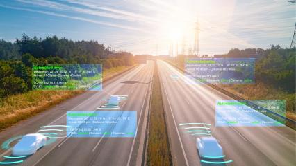 Smart car (HUD) , Autonomous self-driving mode vehicle on highway road iot concept with graphic sensor radar signal system  : Stock Photo or Stock Video Download rcfotostock photos, images and assets rcfotostock | RC-Photo-Stock.: