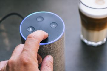 Smart speaker and male hand- Stock Photo or Stock Video of rcfotostock | RC-Photo-Stock