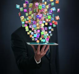 Smartphone with cloud of application icons- Stock Photo or Stock Video of rcfotostock | RC-Photo-Stock