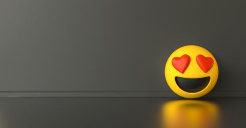 Smile in love emoji ob dark gray background, social media and co- Stock Photo or Stock Video of rcfotostock | RC-Photo-Stock