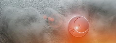 Smoke detector on a roof detects smoke and give alarm- Stock Photo or Stock Video of rcfotostock | RC-Photo-Stock