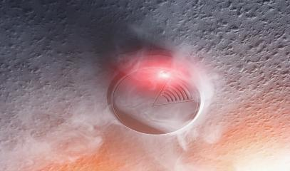 smoke detector with white smoke and red warning light- Stock Photo or Stock Video of rcfotostock | RC-Photo-Stock