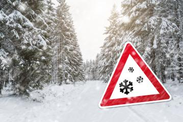 Snowfall sign at winter with forest- Stock Photo or Stock Video of rcfotostock | RC-Photo-Stock