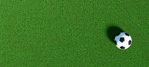 Soccer ball on a green grass as a panorama background, banner size- Stock Photo or Stock Video of rcfotostock | RC-Photo-Stock