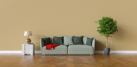 Sofa in a living room on a brown wall with copy space on the wall for picture canvas- Stock Photo or Stock Video of rcfotostock | RC-Photo-Stock