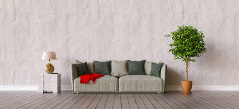 Sofa in a living room with copy space on the wall for picture canvas- Stock Photo or Stock Video of rcfotostock | RC-Photo-Stock