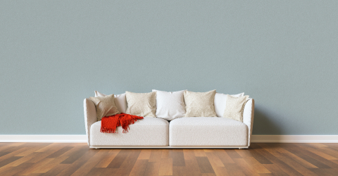 Sofa on a blue wall in living room with space for canva- Stock Photo or Stock Video of rcfotostock | RC-Photo-Stock