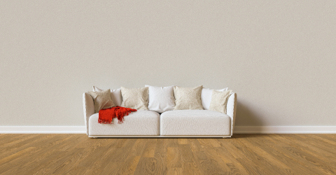 Sofa on a gray wall in living room with space for canva- Stock Photo or Stock Video of rcfotostock | RC-Photo-Stock
