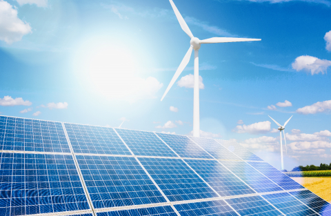 Solar panels and wind turbines generating electricity is solar energy and wind energy in hybrid power plant systems station use renewable energy to generate electricity with blue sky- Stock Photo or Stock Video of rcfotostock | RC-Photo-Stock