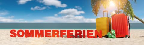 Sommerferien (German for: summer holidays) concept with slogan on the beach with Suitcase, Palm tree, flip-flops and blue sky- Stock Photo or Stock Video of rcfotostock | RC-Photo-Stock