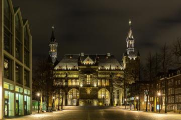 South facade of Aachen Town hall at night- Stock Photo or Stock Video of rcfotostock | RC-Photo-Stock