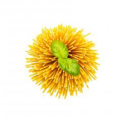 spaghetti swirl with basil leaf- Stock Photo or Stock Video of rcfotostock | RC-Photo-Stock