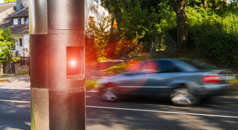 Speed camera on the side walk in a german town- Stock Photo or Stock Video of rcfotostock | RC-Photo-Stock