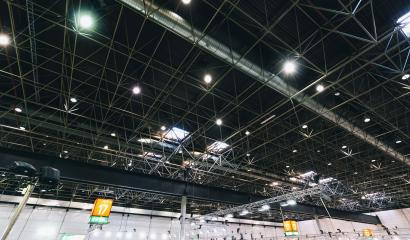 Spot Lights and ventilation system in a industrial building, exhibition Hall Ceiling construction- Stock Photo or Stock Video of rcfotostock | RC-Photo-Stock