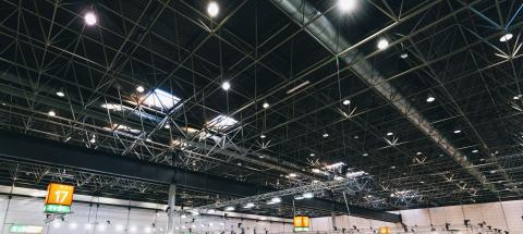 Spot Lights system in a industrial building or exhibition Hall Ceiling construction : Stock Photo or Stock Video Download rcfotostock photos, images and assets rcfotostock | RC-Photo-Stock.: