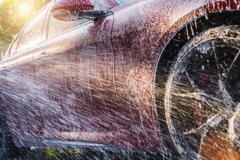 Spraying foam to a red sports car with high pressure foam gun car wash at car wash- Stock Photo or Stock Video of rcfotostock | RC-Photo-Stock