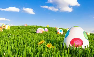 Spring meadow with easter eggs- Stock Photo or Stock Video of rcfotostock | RC-Photo-Stock