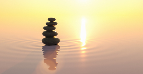 stacks of pebbles in the ocean at sunset, Japanese zen garden concept image, copyspace for your individual text.- Stock Photo or Stock Video of rcfotostock | RC-Photo-Stock
