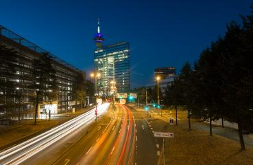 Stadttor in Dusseldorf at night, germany- Stock Photo or Stock Video of rcfotostock | RC-Photo-Stock