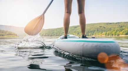Stand up paddle boarding on a quiet lake at summer, close-up of legs- Stock Photo or Stock Video of rcfotostock | RC-Photo-Stock