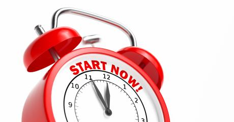 Start now as concept on a red vintage alarm clock- Stock Photo or Stock Video of rcfotostock | RC-Photo-Stock