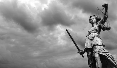 Statue of justice goddess (Justitia) with cloudy sky, Black and white : Stock Photo or Stock Video Download rcfotostock photos, images and assets rcfotostock | RC-Photo-Stock.: