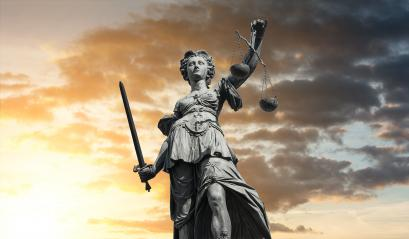 Statue of Lady Justice (Justitia) with sunset sky : Stock Photo or Stock Video Download rcfotostock photos, images and assets rcfotostock | RC-Photo-Stock.: