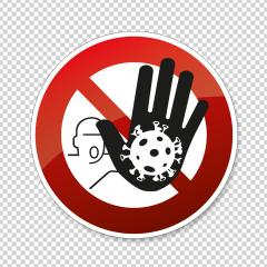 STOP! coronavirus roadsign with big hand that Stops the coronavirus. Prohibit Sign, warning Sign Pandemic medical concept sign with dangerous virus cell on transparent background. Vector Eps 10.- Stock Photo or Stock Video of rcfotostock | RC-Photo-Stock