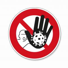 STOP! coronavirus roadsign with big hand that Stops the coronavirus. Prohibit Sign, warning Sign Pandemic medical concept sign with dangerous virus cell on white background. Vector Eps 10.- Stock Photo or Stock Video of rcfotostock | RC-Photo-Stock
