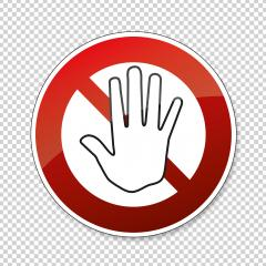 STOP! Simple red stop roadsign with big hand symbol or icon. Safety signs, warning Sign or Danger symbol stop hand sign for prohibited activities on transparent background. Vector illustration. Eps 10- Stock Photo or Stock Video of rcfotostock | RC-Photo-Stock