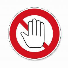 STOP! Simple red stop roadsign with big hand symbol or icon. Safety signs, warning Sign or Danger symbol stop hand sign for prohibited activities on white background. Vector illustration. Eps 10.- Stock Photo or Stock Video of rcfotostock | RC-Photo-Stock