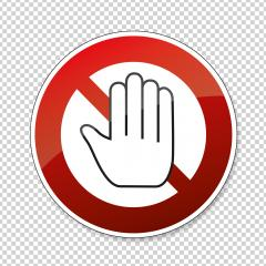 STOP! Simple red stop roadsign with big hand symbol or icon. Safety signs, warning Sign or Danger symbol stop hand sign for prohibited activities on transparent background. Vector illustration. Eps 10 : Stock Photo or Stock Video Download rcfotostock photos, images and assets rcfotostock | RC-Photo-Stock.: