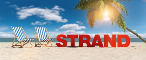 Strand (German for: beach) concept with slogan on the beach with deckchairs, Palm tree and blue sky- Stock Photo or Stock Video of rcfotostock | RC-Photo-Stock