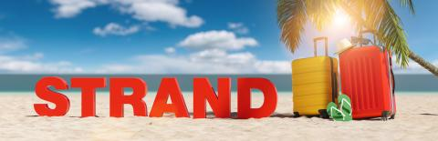 Strand (German for: Beacj) concept with slogan on the beach with Suitcase, Palm tree, flip-flops and blue sky : Stock Photo or Stock Video Download rcfotostock photos, images and assets rcfotostock | RC-Photo-Stock.: