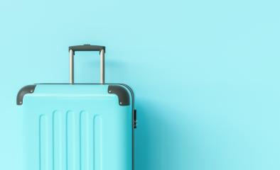 Suitcase on blue background. travel concept, with copy space for individual text- Stock Photo or Stock Video of rcfotostock | RC-Photo-Stock