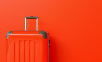Suitcase on red background. travel concept, with copy space for individual text- Stock Photo or Stock Video of rcfotostock | RC-Photo-Stock