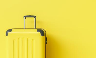 Suitcase on yellow background. travel concept, with copy space for individual text- Stock Photo or Stock Video of rcfotostock | RC-Photo-Stock