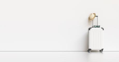 Suitcase with hat and sunglasses on white background. travel concept, with copy space for individual text- Stock Photo or Stock Video of rcfotostock | RC-Photo-Stock