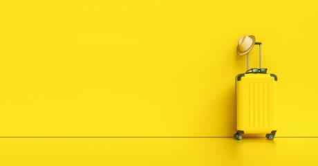 Suitcase with hat and sunglasses on yellow background. travel concept, with copy space for individual text- Stock Photo or Stock Video of rcfotostock   RC-Photo-Stock