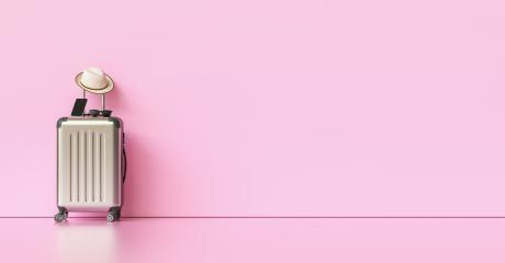 Suitcase with hat, sunglasses and smartphone on pink background. travel concept, with copy space for individual text- Stock Photo or Stock Video of rcfotostock | RC-Photo-Stock