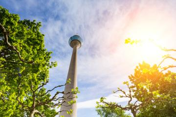 Summer day with view of the Tv Tower Dusseldorf , germany : Stock Photo or Stock Video Download rcfotostock photos, images and assets rcfotostock | RC-Photo-Stock.: